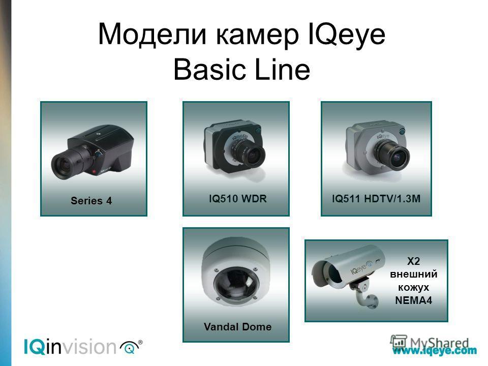 Модели камер IQeye Basic Line X2 внешний кожух NEMA4 IQ510 WDRIQ511 HDTV/1.3M Series 4 Vandal Dome