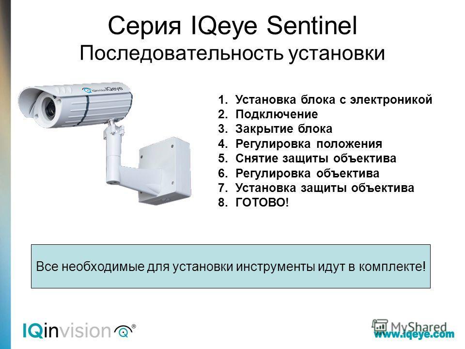Серия IQeye Sentinel Последовательность установки 1. Установка блока с электроникой 2. Подключение 3. Закрытие блока 4. Регулировка положения 5. Снятие защиты объектива 6. Регулировка объектива 7. Установка защиты объектива 8.ГОТОВО! Все необходимые
