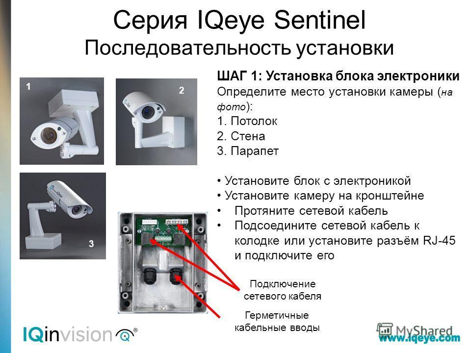 Серия IQeye Sentinel Последовательность установки ШАГ 1: Установка блока электроники Определите место установки камеры ( на фото ): 1. Потолок 2. Стена 3. Парапет Установите блок с электроникой Установите камеру на кронштейне Протяните сетевой кабель