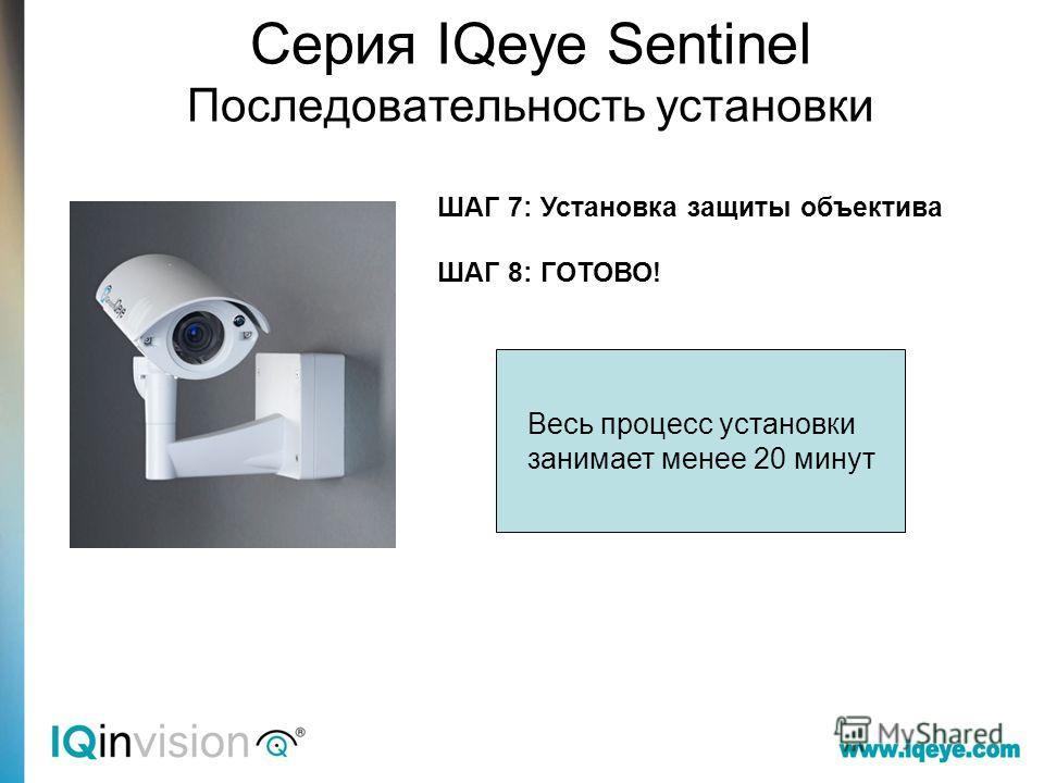ШАГ 7: Установка защиты объектива ШАГ 8: ГОТОВО! Весь процесс установки занимает менее 20 минут Серия IQeye Sentinel Последовательность установки