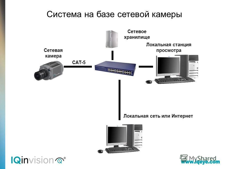 CAT-5 Система на базе сетевой камеры Сетевая камера Локальная станция просмотра Сетевое хранилище Локальная сеть или Интернет
