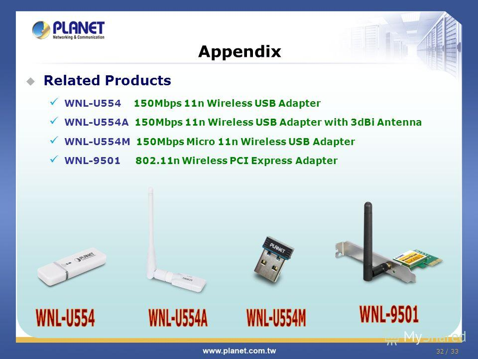 32 / 33 Related Products WNL-U554 150Mbps 11n Wireless USB Adapter WNL-U554A 150Mbps 11n Wireless USB Adapter with 3dBi Antenna WNL-U554M 150Mbps Micro 11n Wireless USB Adapter WNL-9501 802.11n Wireless PCI Express Adapter Appendix