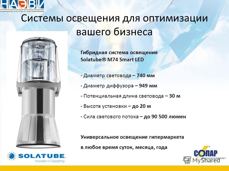 Системы освещения для оптимизации вашего бизнеса Гибридная система освещения Solatube М74 Smart LED - Диаметр световода – 740 мм - Диаметр диффузора – 949 мм - Потенциальная длина световода – 30 м - Высота установки – до 20 м - Сила светового потока