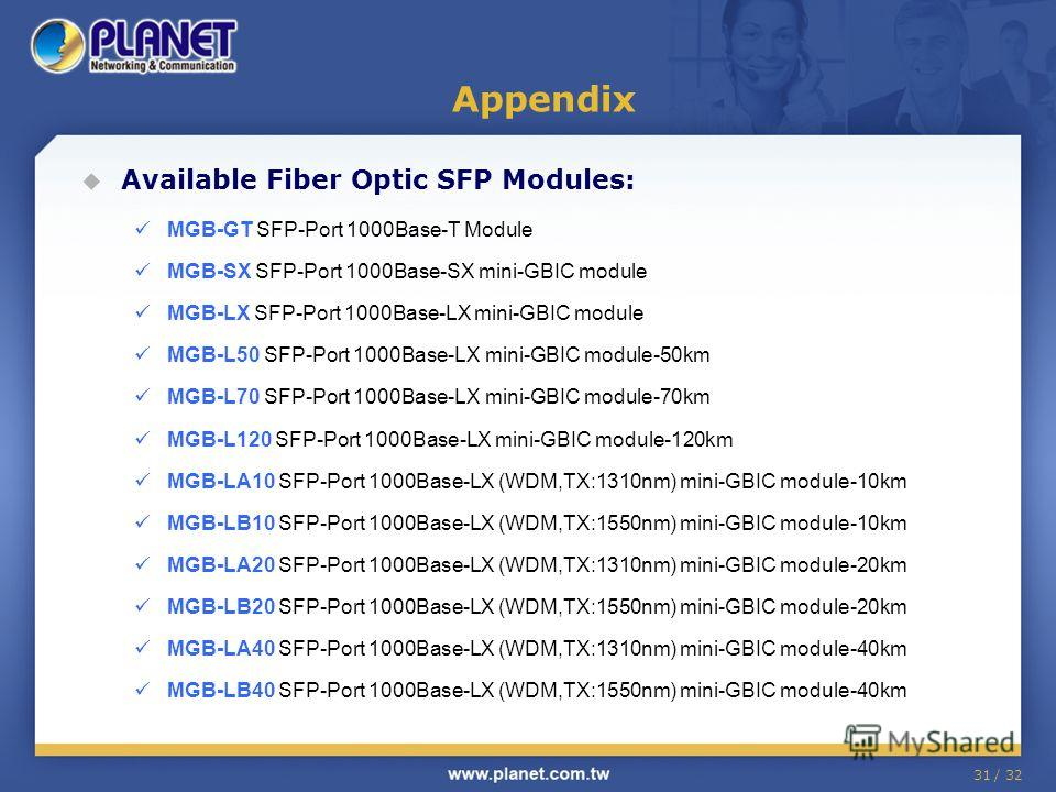 31 / 32 Appendix Available Fiber Optic SFP Modules: MGB-GT SFP-Port 1000Base-T Module MGB-SX SFP-Port 1000Base-SX mini-GBIC module MGB-LX SFP-Port 1000Base-LX mini-GBIC module MGB-L50 SFP-Port 1000Base-LX mini-GBIC module-50km MGB-L70 SFP-Port 1000Ba