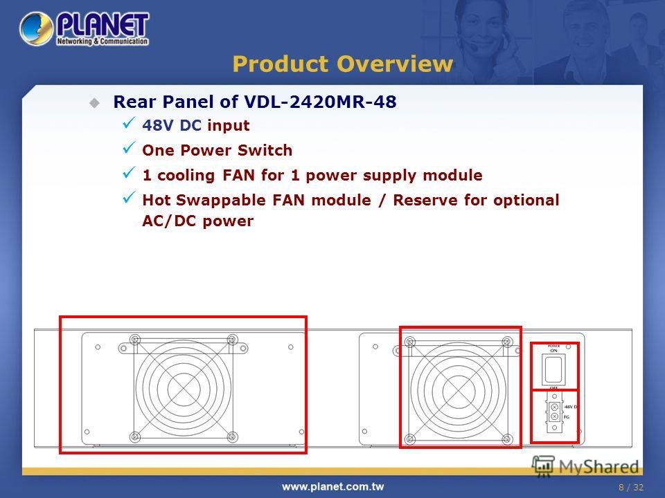 8 / 32 Product Overview Rear Panel of VDL-2420MR-48 48V DC input One Power Switch 1 cooling FAN for 1 power supply module Hot Swappable FAN module / Reserve for optional AC/DC power