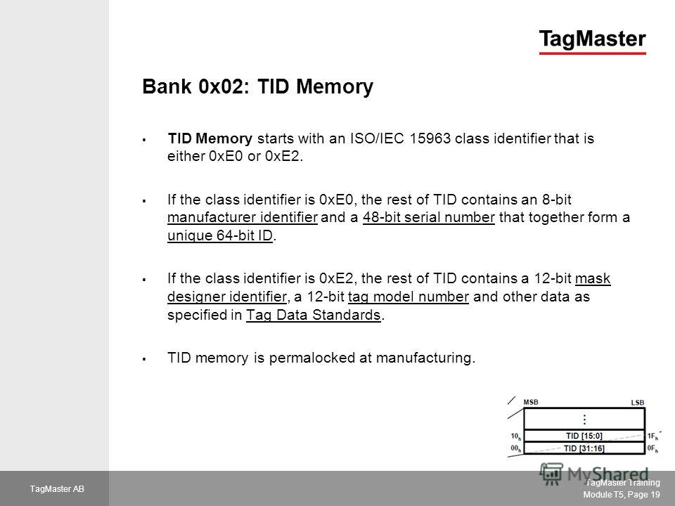 TagMaster Training Module T5, Page 19 TagMaster AB Bank 0x02: TID Memory TID Memory starts with an ISO/IEC 15963 class identifier that is either 0xE0 or 0xE2. If the class identifier is 0xE0, the rest of TID contains an 8-bit manufacturer identifier