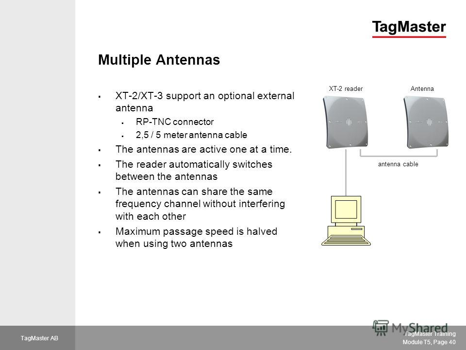 TagMaster Training Module T5, Page 40 TagMaster AB Multiple Antennas XT-2/XT-3 support an optional external antenna RP-TNC connector 2,5 / 5 meter antenna cable The antennas are active one at a time. The reader automatically switches between the ante
