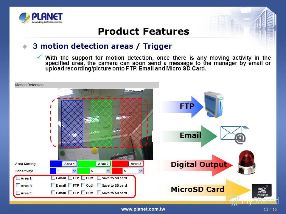 11 / 15 Product Features 3 motion detection areas / Trigger With the support for motion detection, once there is any moving activity in the specified area, the camera can soon send a message to the manager by email or upload recording/picture onto FT