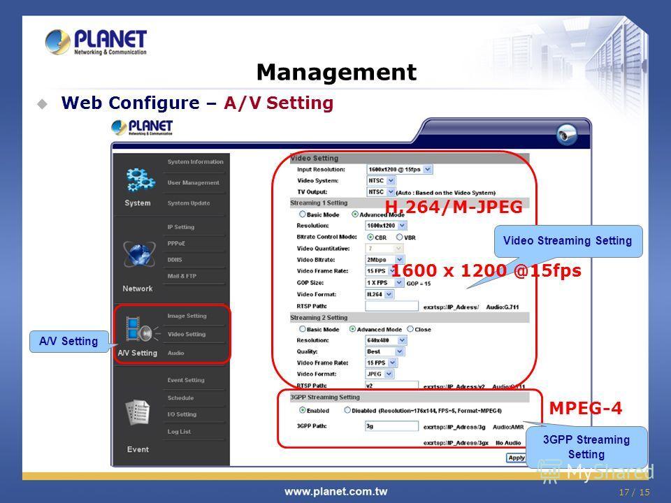 17 / 15 Management Web Configure – A/V Setting A/V Setting 3GPP Streaming Setting Video Streaming Setting H.264/M-JPEG 1600 x 1200 @15fps MPEG-4