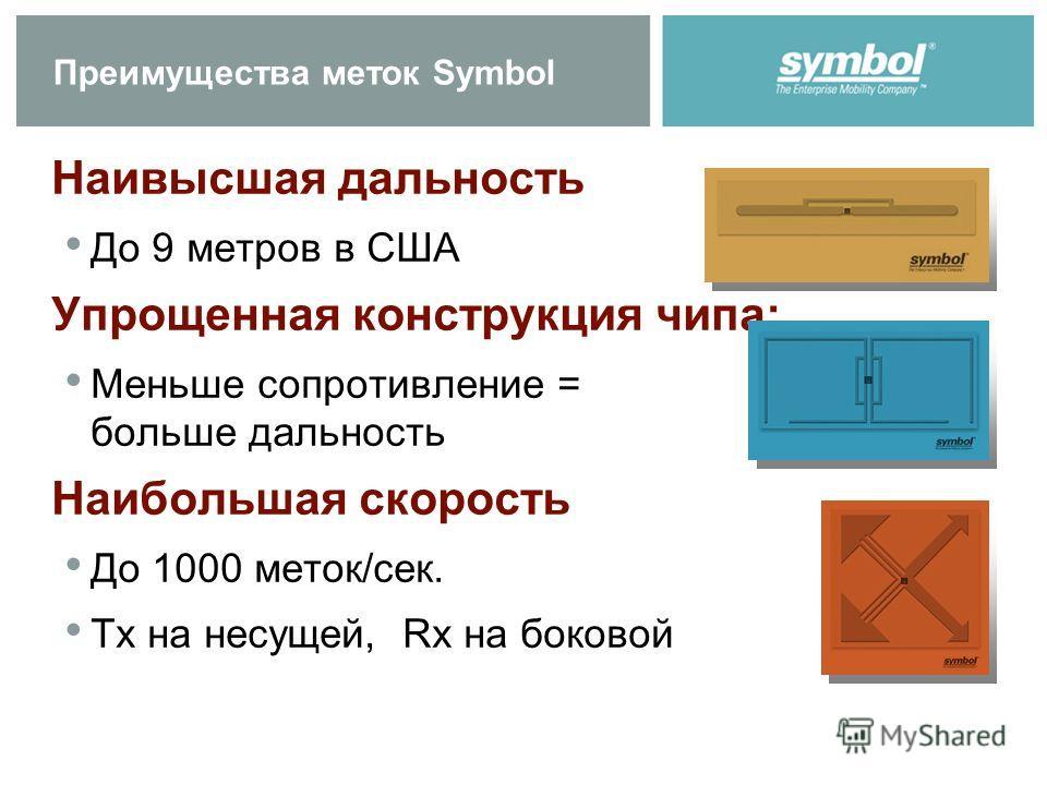 Преимущества меток Symbol Наивысшая дальность До 9 метров в США Упрощенная конструкция чипа: Меньше сопротивление = больше дальность Наибольшая скорость До 1000 меток/сек. Tx на несущей, Rx на боковой