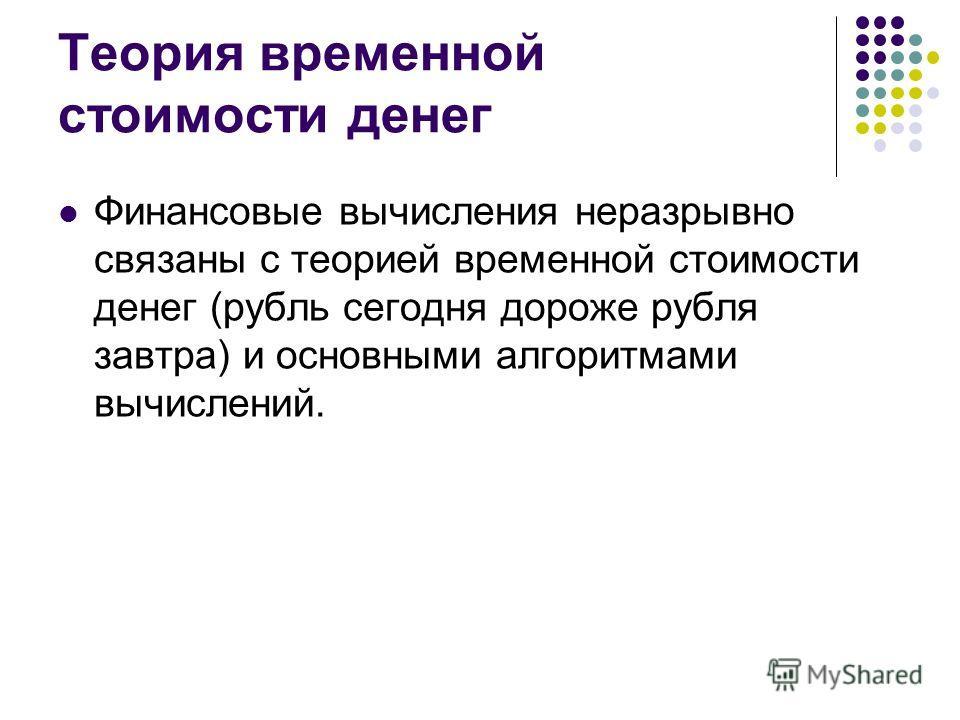 Теория временной стоимости денег Финансовые вычисления неразрывно связаны с теорией временной стоимости денег (рубль сегодня дороже рубля завтра) и основными алгоритмами вычислений.