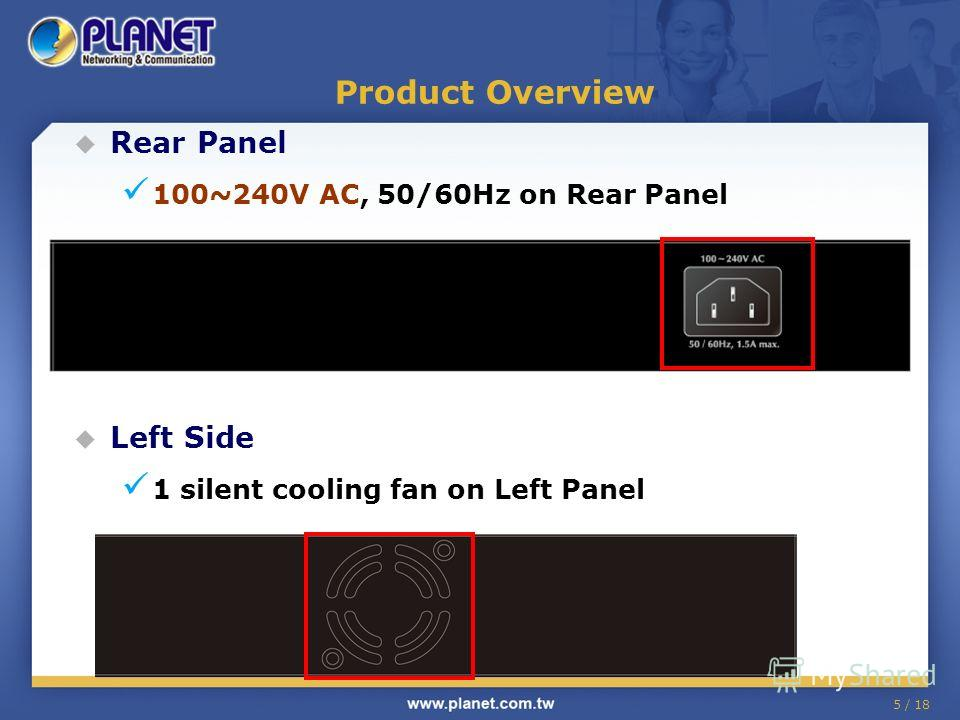 Rear Panel 100~240V AC, 50/60Hz on Rear Panel Left Side 1 silent cooling fan on Left Panel 5 / 18 Product Overview
