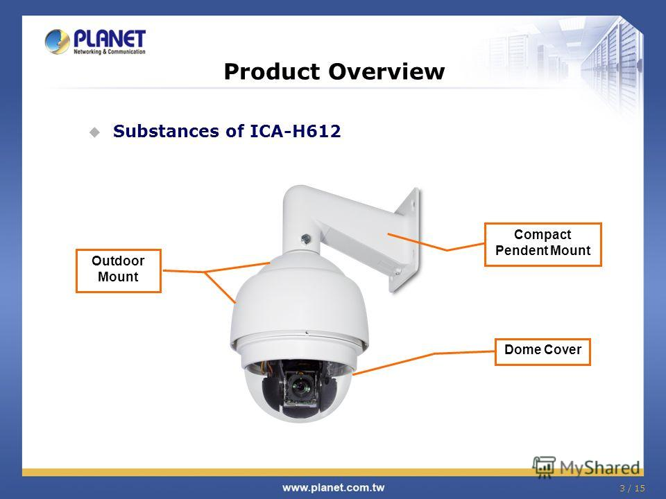 3 / 15 Product Overview Substances of ICA-H612 Outdoor Mount Compact Pendent Mount Dome Cover