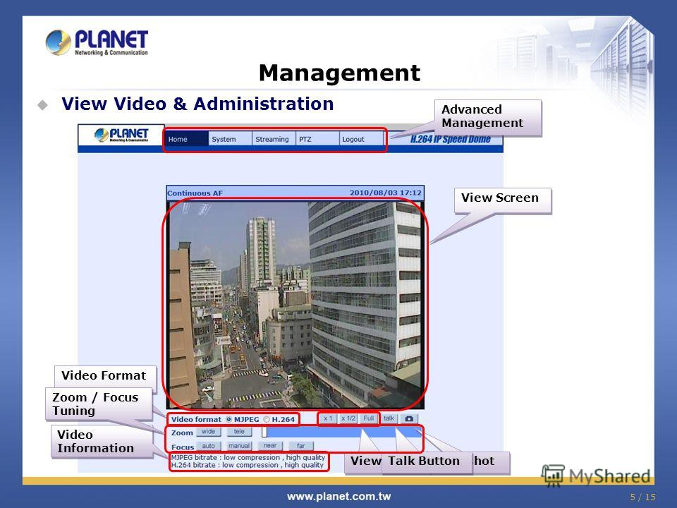 5 / 15 Management View Video & Administration View Screen Video Information Video Information Video Format Advanced Management View Size Snapshot Talk Button Zoom / Focus Tuning