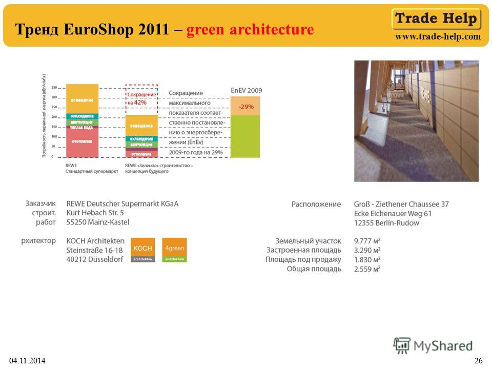 www.trade-help.com 04.11.20142604.11.201426 Тренд EuroShop 2011 – green architecture
