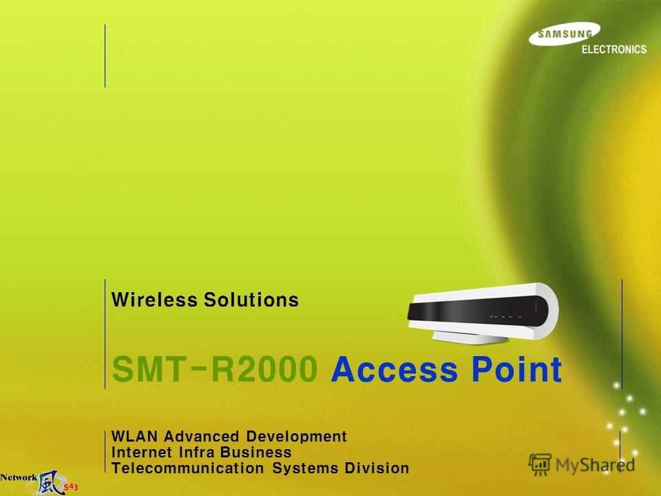 WLAN Advanced Development Internet Infra Business Telecommunication Systems Division SMT-R2000 Access Point Wireless Solutions