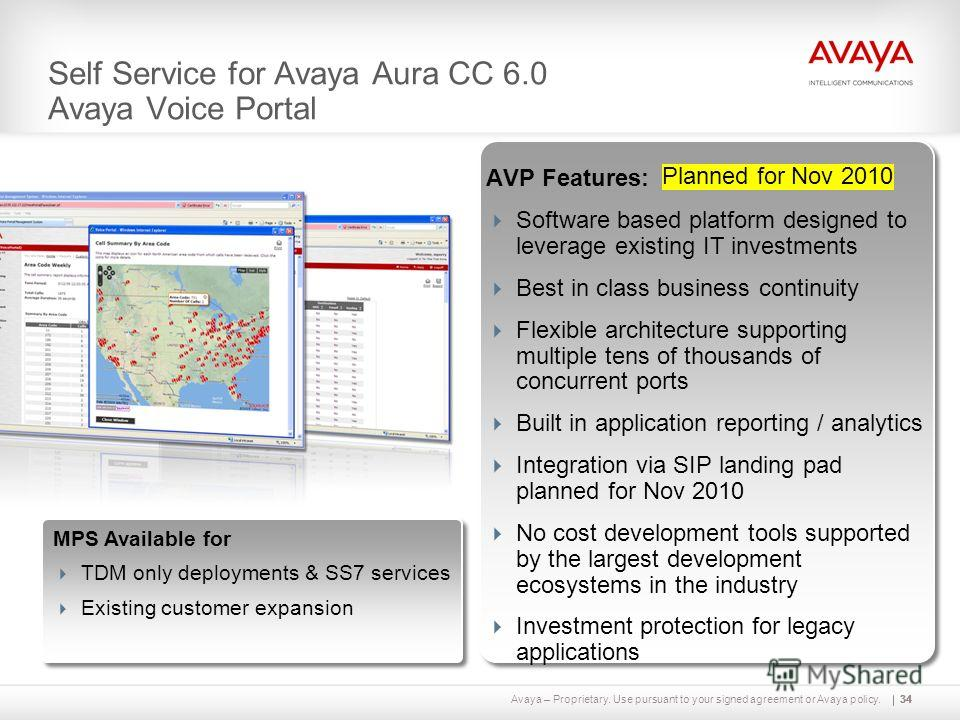 Avaya – Proprietary. Use pursuant to your signed agreement or Avaya policy.34 Self Service for Avaya Aura CC 6.0 Avaya Voice Portal AVP Features: Software based platform designed to leverage existing IT investments Best in class business continuity F