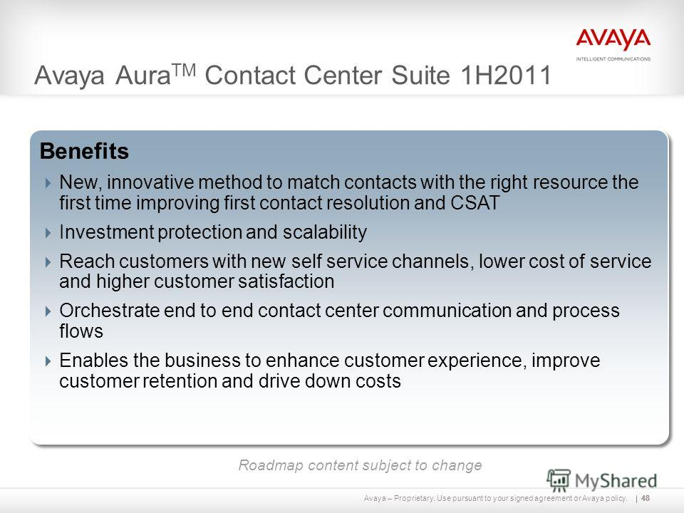 Avaya – Proprietary. Use pursuant to your signed agreement or Avaya policy.48 Avaya Aura TM Contact Center Suite 1H2011 48 Capabilities Breakthrough, scalable and distributed Work Assignment Avaya Aura CC Framework with ICR supports mix of CC Elite,