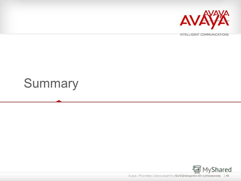 Avaya – Proprietary. Use pursuant to your signed agreement or Avaya policy.49© 2010 Avaya Inc. All rights reserved. Summary 49