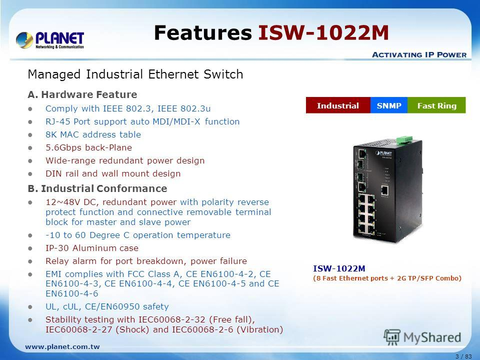 www.planet.com.tw 3 / 83 Features ISW-1022M Managed Industrial Ethernet Switch A. Hardware Feature Comply with IEEE 802.3, IEEE 802.3u RJ-45 Port support auto MDI/MDI-X function 8K MAC address table 5.6Gbps back-Plane Wide-range redundant power desig