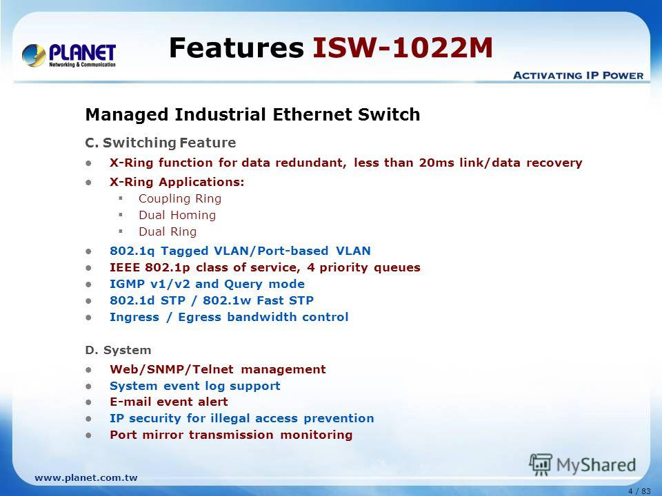 www.planet.com.tw 4 / 83 Features ISW-1022M Managed Industrial Ethernet Switch C. Switching Feature X-Ring function for data redundant, less than 20ms link/data recovery X-Ring Applications: Coupling Ring Dual Homing Dual Ring 802.1q Tagged VLAN/Port