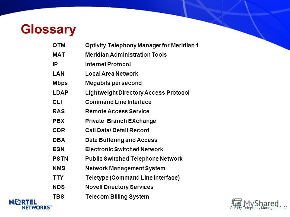 Optivity Telephony Manager 2.0- 38 OTM Optivity Telephony Manager for Meridian 1 MATMeridian Administration Tools IPInternet Protocol LANLocal Area Network MbpsMegabits per second LDAPLightweight Directory Access Protocol CLICommand Line Interface RA