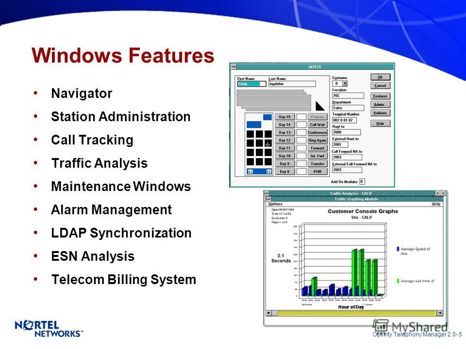 Optivity Telephony Manager 2.0- 5 Windows Features Navigator Station Administration Call Tracking Traffic Analysis Maintenance Windows Alarm Management LDAP Synchronization ESN Analysis Telecom Billing System