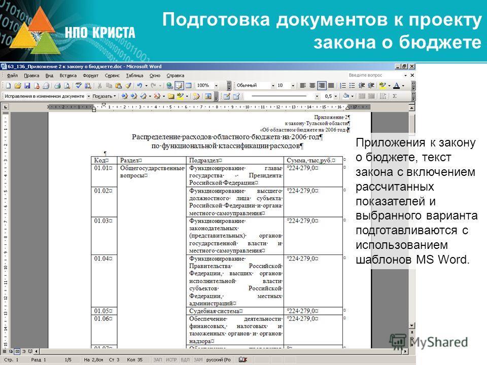 Подготовка документов к проекту закона о бюджете Приложения к закону о бюджете, текст закона с включением рассчитанных показателей и выбранного варианта подготавливаются с использованием шаблонов MS Word.
