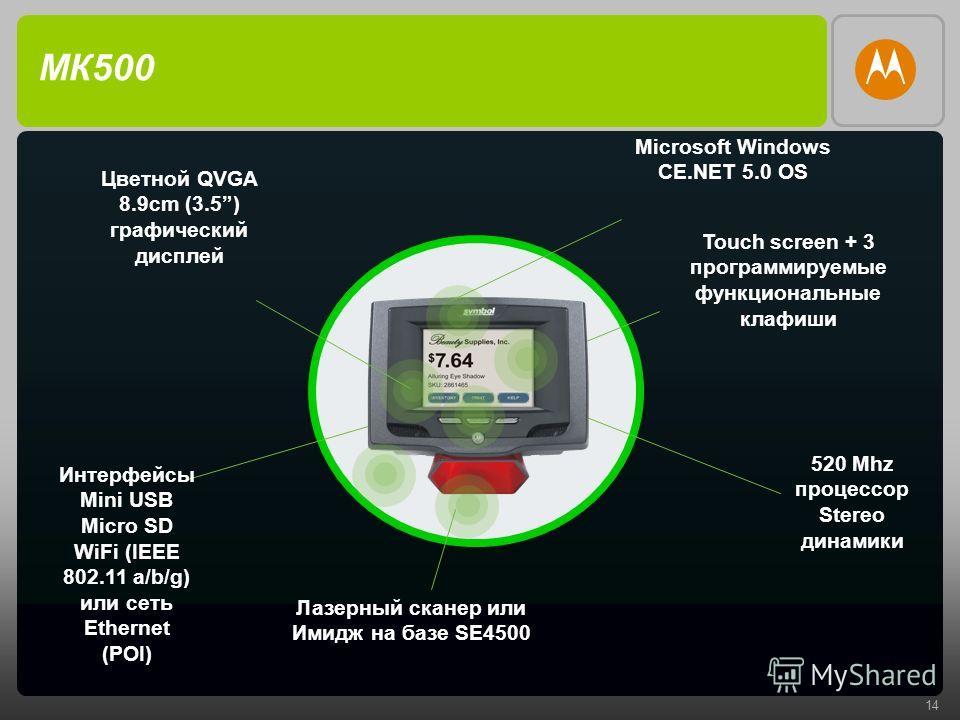 14 МК500 Интерфейсы Mini USB Micro SD WiFi (IEEE 802.11 a/b/g) или сеть Ethernet (POI) 520 Mhz процессор Stereo динамики Touch screen + 3 программируемые функциональные клавиши Лазерный сканер или Имидж на базе SE4500 Цветной QVGA 8.9cm (3.5) графиче