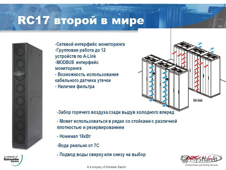 © a company of Schneider Electric RC17 второй в мире - Сетевой интерфейс мониторинга - Групповая работа до 12 устройств по A-Link - MODBUS интерфейс мониторинга - Возможность использования кабельного датчика утечки - Наличие фильтра - Забор горячего