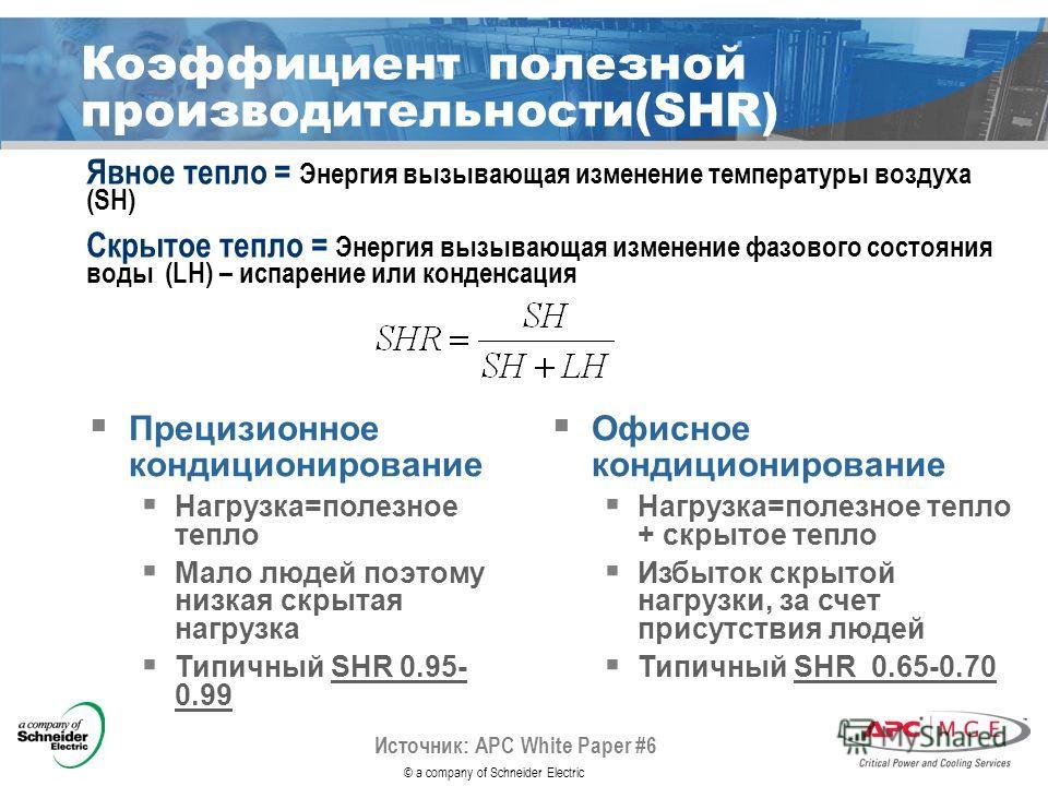© a company of Schneider Electric Источник: APC White Paper #6 Явное тепло = Энергия вызывающая изменение температуры воздуха (SH) Скрытое тепло = Энергия вызывающая изменение фазового состояния воды (LH) – испарение или конденсация Коэффициент полез