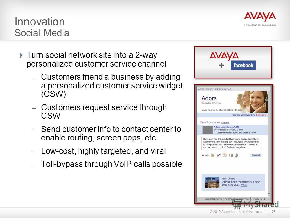 © 2010 Avaya Inc. All rights reserved. Innovation Social Media + 28 Turn social network site into a 2-way personalized customer service channel – Customers friend a business by adding a personalized customer service widget (CSW) – Customers request s