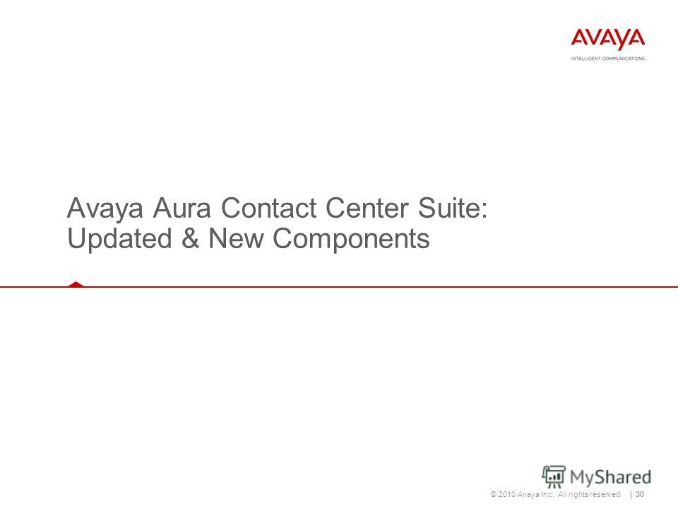 © 2010 Avaya Inc. All rights reserved.30 Avaya Aura Contact Center Suite: Updated & New Components