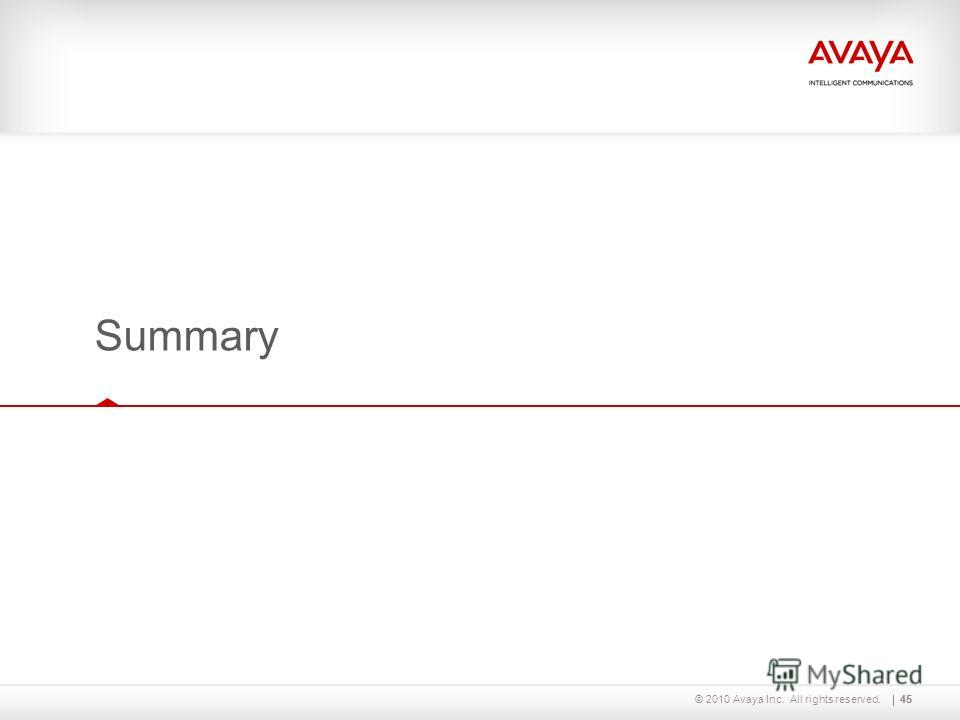 © 2010 Avaya Inc. All rights reserved.45 Summary 45