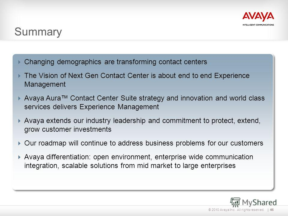 © 2010 Avaya Inc. All rights reserved.46 Changing demographics are transforming contact centers The Vision of Next Gen Contact Center is about end to end Experience Management Avaya Aura Contact Center Suite strategy and innovation and world class se