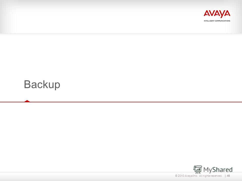 © 2010 Avaya Inc. All rights reserved.48 Backup