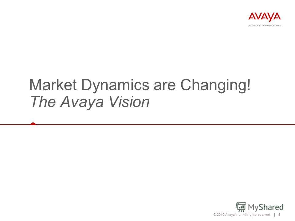 © 2010 Avaya Inc. All rights reserved.5 Market Dynamics are Changing! The Avaya Vision 5
