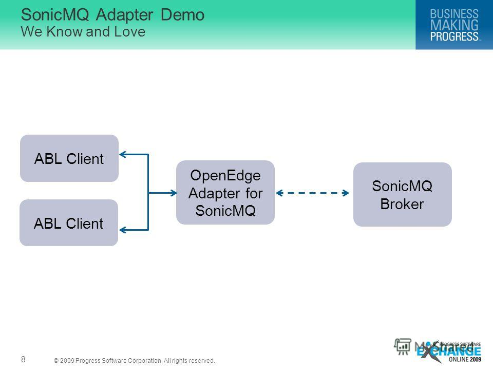 © 2009 Progress Software Corporation. All rights reserved. 8 SonicMQ Adapter Demo We Know and Love ABL Client OpenEdge Adapter for SonicMQ SonicMQ Broker