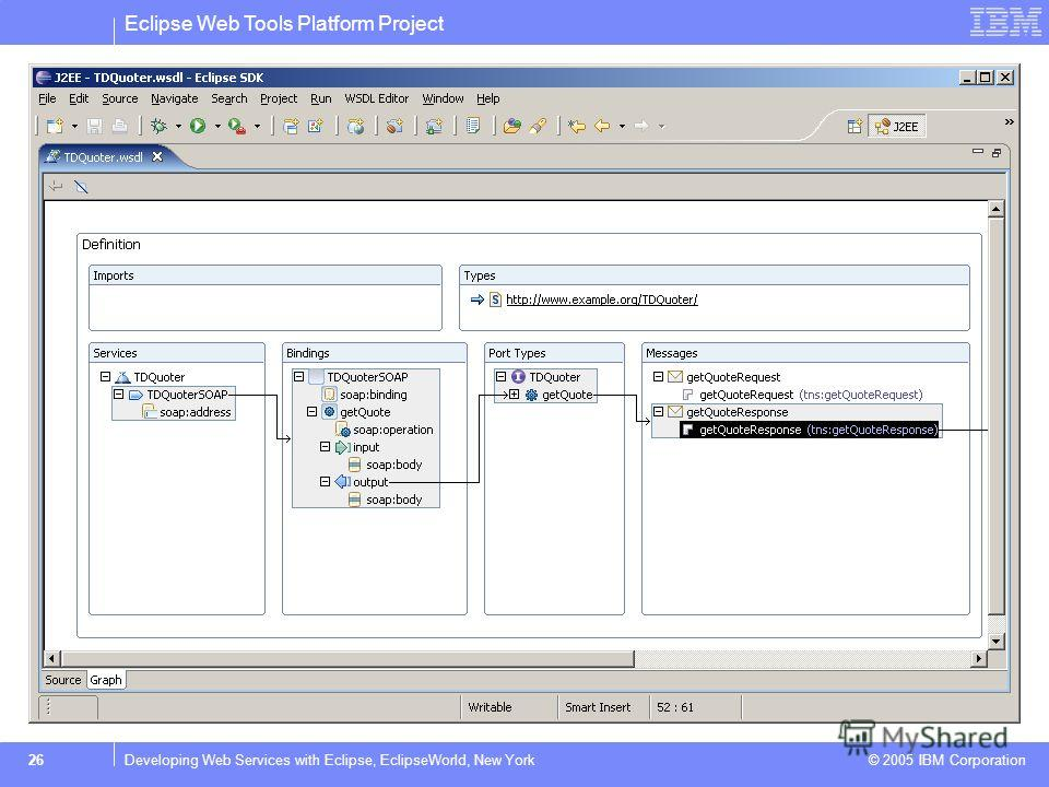 Eclipse Web Tools Platform Project © 2005 IBM Corporation 26Developing Web Services with Eclipse, EclipseWorld, New York