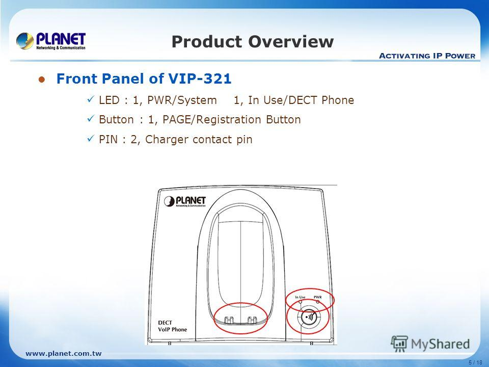 www.planet.com.tw 5 / 18 Product Overview Front Panel of VIP-321 LED : 1, PWR/System1, In Use/DECT Phone Button : 1, PAGE/Registration Button PIN : 2, Charger contact pin