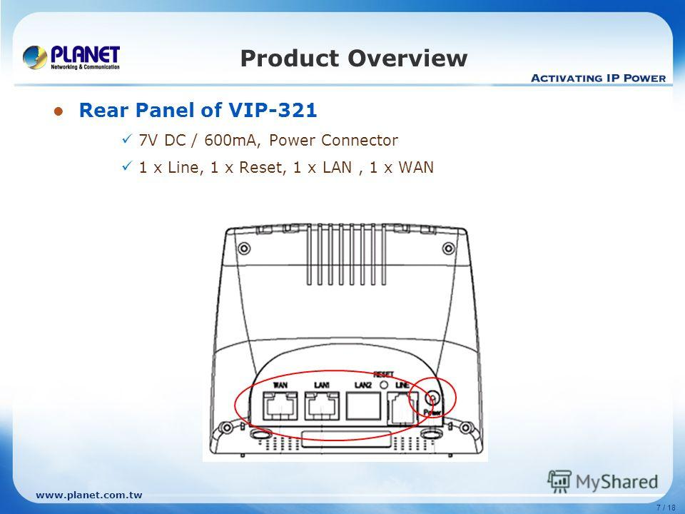 www.planet.com.tw 7 / 18 Product Overview Rear Panel of VIP-321 7V DC / 600mA, Power Connector 1 x Line, 1 x Reset, 1 x LAN, 1 x WAN