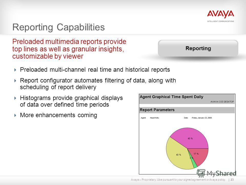 Avaya – Proprietary. Use pursuant to your signed agreement or Avaya policy. Reporting Capabilities Preloaded multi-channel real time and historical reports Report configurator automates filtering of data, along with scheduling of report delivery Hist