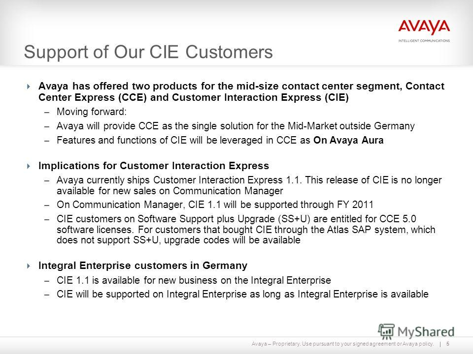 Avaya – Proprietary. Use pursuant to your signed agreement or Avaya policy. Support of Our CIE Customers Avaya has offered two products for the mid-size contact center segment, Contact Center Express (CCE) and Customer Interaction Express (CIE) – Mov