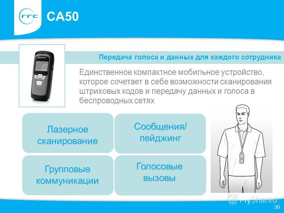 20 CA50 Единственное компактное мобильное устройство, которое сочетает в себе возможности сканирования штриховых кодов и передачу данных и голоса в беспроводных сетях Передача голоса и данных для каждого сотрудника Групповые коммуникации Голосовые вы