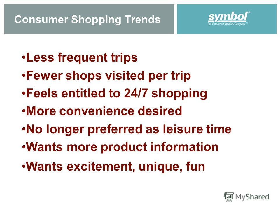 Consumer Shopping Trends Less frequent trips Fewer shops visited per trip Feels entitled to 24/7 shopping More convenience desired No longer preferred as leisure time Wants more product information Wants excitement, unique, fun