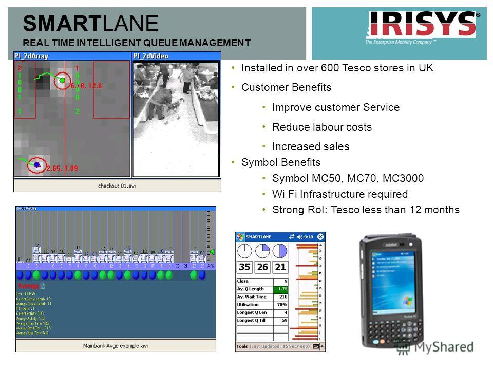 SMARTLANE REAL TIME INTELLIGENT QUEUE MANAGEMENT Installed in over 600 Tesco stores in UK Customer Benefits Improve customer Service Reduce labour costs Increased sales Symbol Benefits Symbol MC50, MC70, MC3000 Wi Fi Infrastructure required Strong Ro