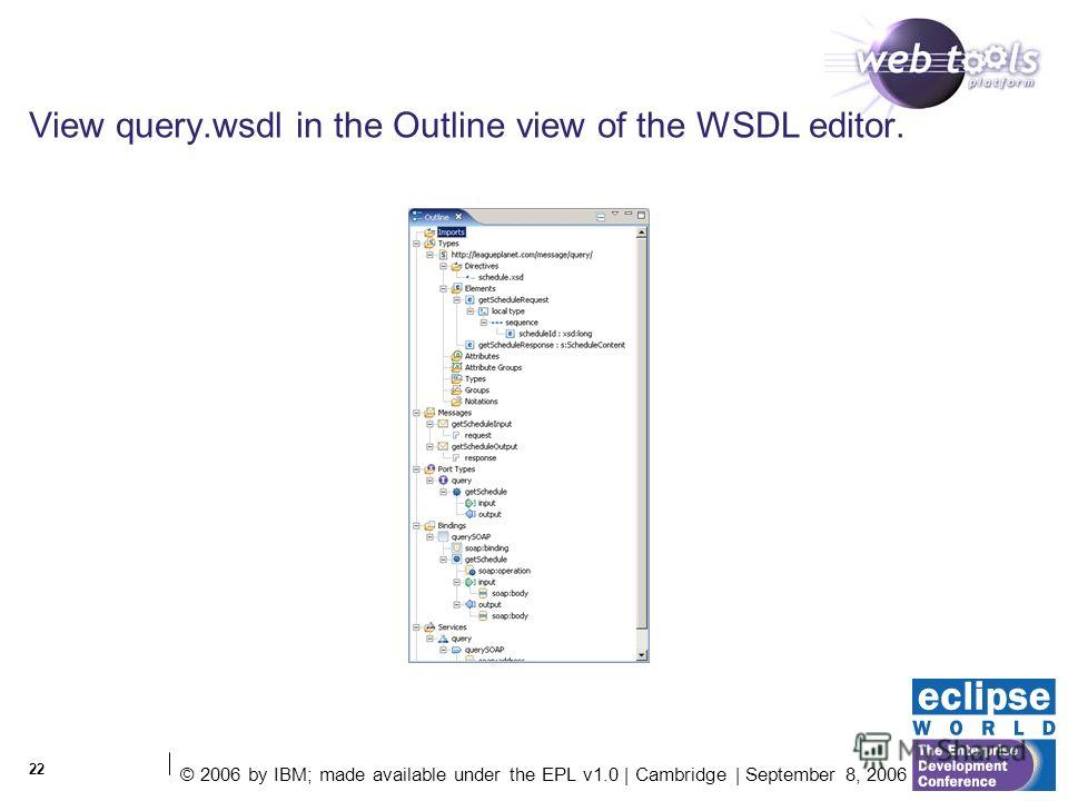 © 2006 by IBM; made available under the EPL v1.0 | Cambridge | September 8, 2006 22 View query.wsdl in the Outline view of the WSDL editor.