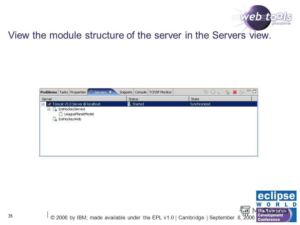 © 2006 by IBM; made available under the EPL v1.0 | Cambridge | September 8, 2006 35 View the module structure of the server in the Servers view.