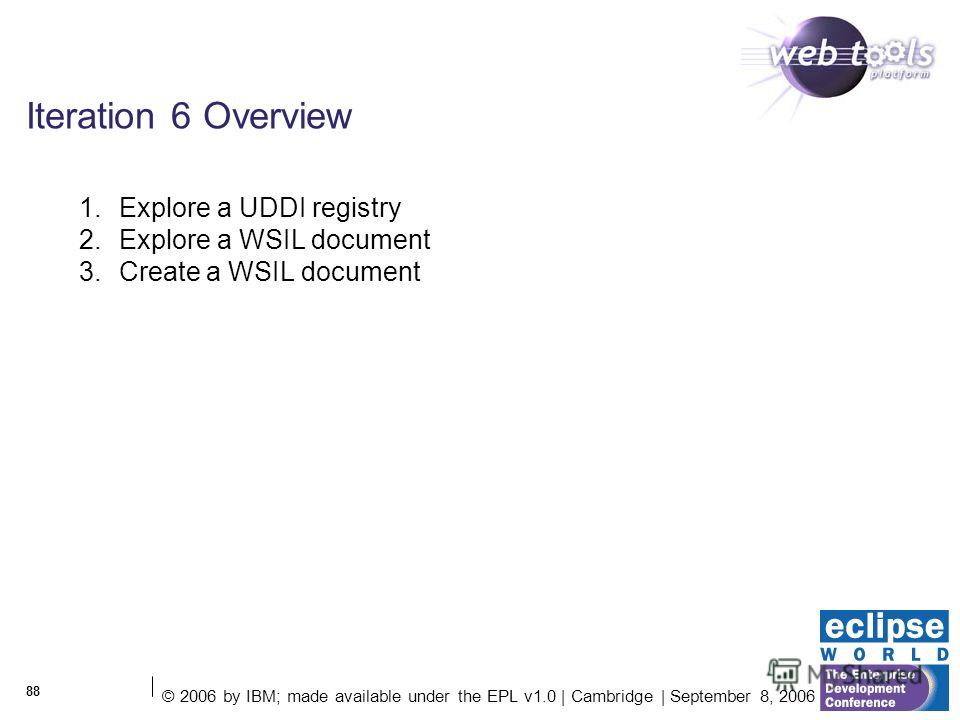 © 2006 by IBM; made available under the EPL v1.0 | Cambridge | September 8, 2006 88 Iteration 6 Overview 1. Explore a UDDI registry 2. Explore a WSIL document 3. Create a WSIL document