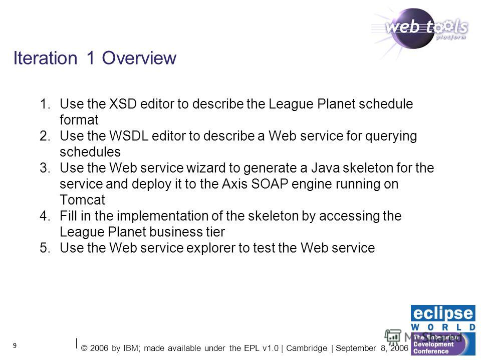 © 2006 by IBM; made available under the EPL v1.0 | Cambridge | September 8, 2006 9 Iteration 1 Overview 1. Use the XSD editor to describe the League Planet schedule format 2. Use the WSDL editor to describe a Web service for querying schedules 3. Use